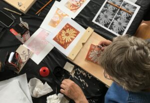 Andrea End Linocut Print Making Class For Seniors